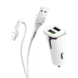 Incarcator auto Hoco Z31, dual USB, QC3.0, 3.4A, Cablu micro-usb inclus
